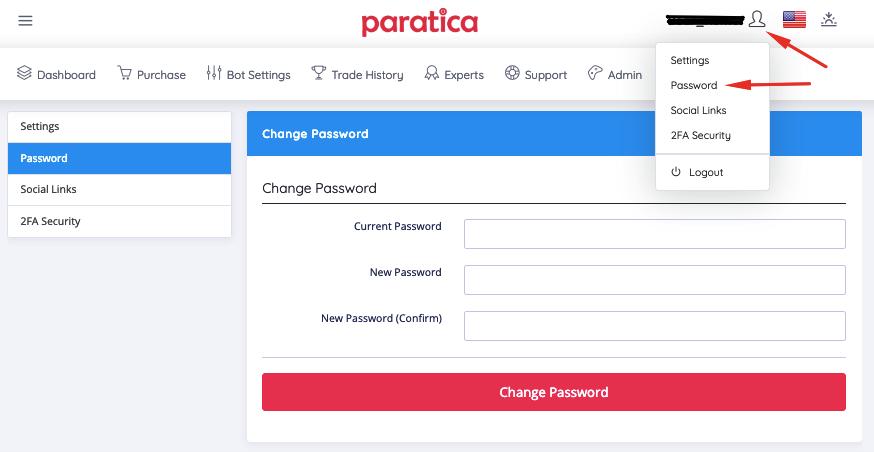 Paratica Password Change