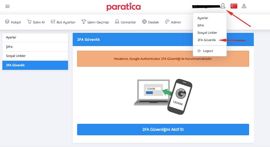 Paratica 2FA Ayarları